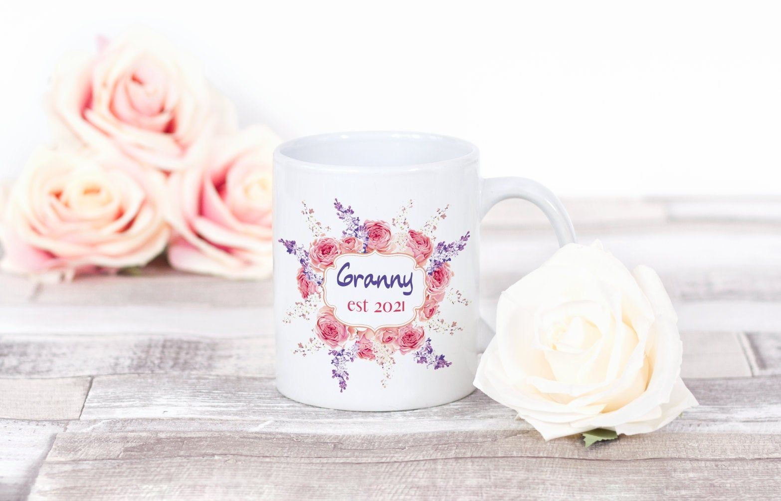 Granny est 2021 floral ceramic mug floral granny mug