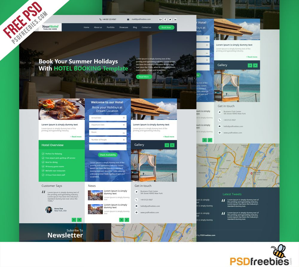 Hotel and Resort Booking Website Template Free PSD | Free Web ...