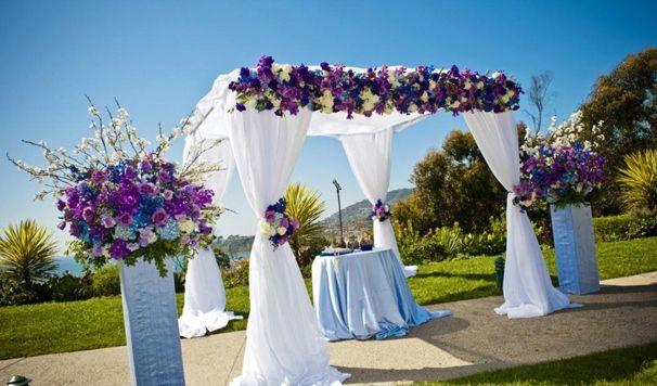 Wedding Ceremony Decor u2013 Altars Canopies Arbors Arches and Chuppahs - Part 2 - Belle The Magazine & Chuppah with purple flowers   Wedding Arches and Wedding Chuppahs ...