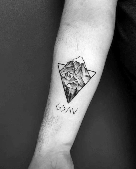4fc1ba32f Mens Inner Forearm Tattoo God Is Greater Than The Highs And Lows Mountain  Triangle Design