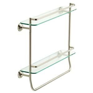Delta 4 In W Double Glass Shelf With Towel Bar In Brushed Nickel Fss07 Bn The Home Depot Glass Shelves Towel Bar Glass Bathroom Shelves