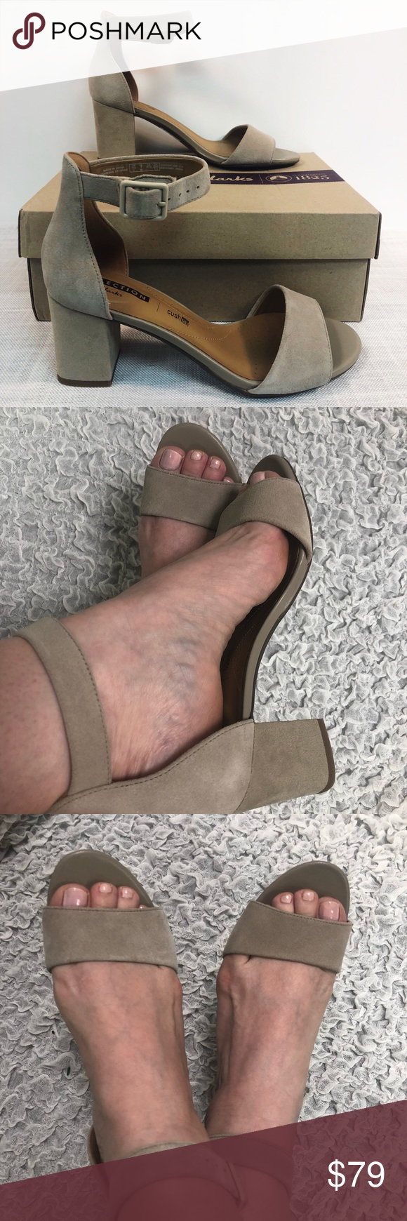 "fddf30c8009 NWT Clarks 7M tan suede sandal heels ankle strap Clark s 7M Brand new tan  suede leather block heeled ankle strap sandals New in box 2.75"" heel ""deva  Mae"" ..."