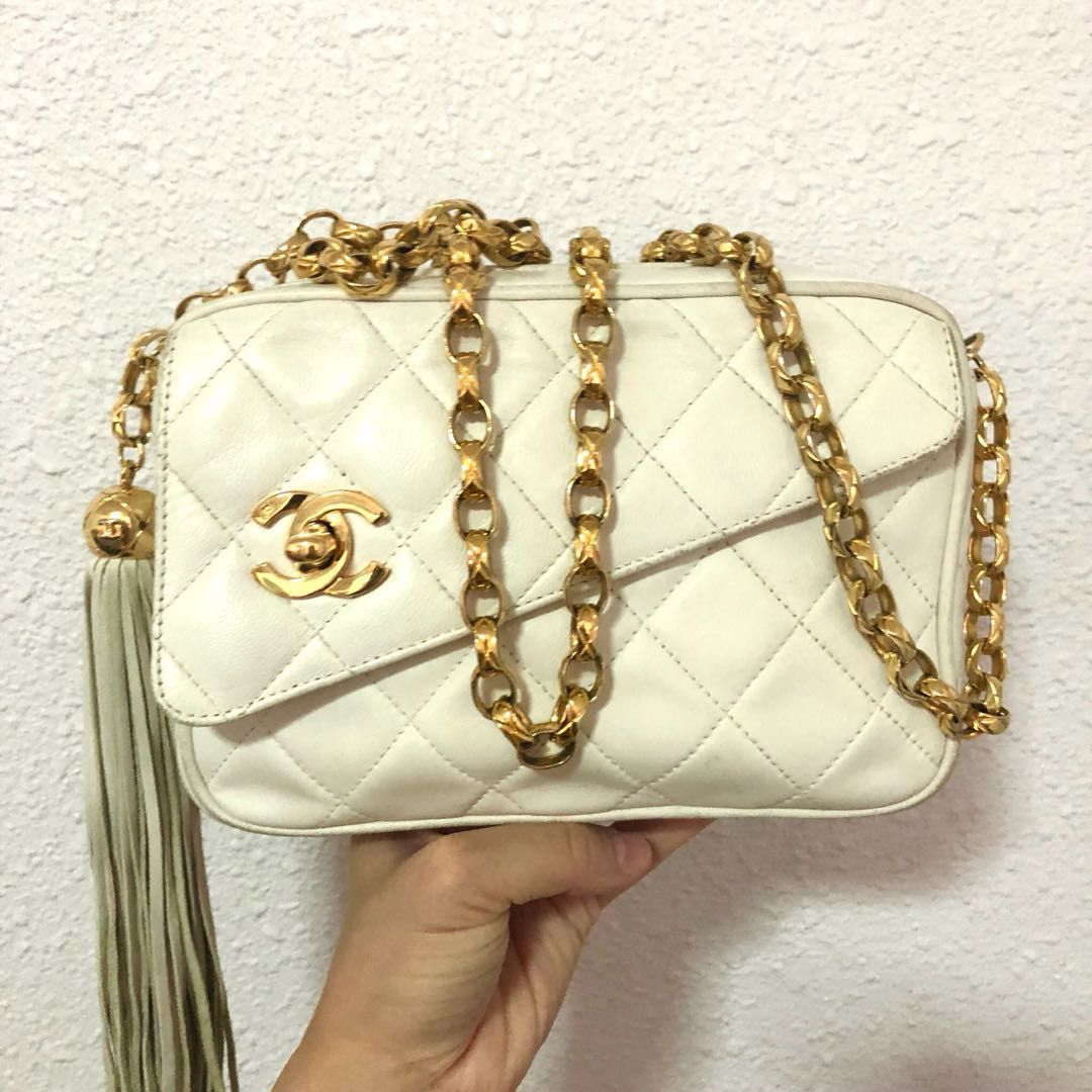 Authentic Chanel White Camera Bag With
