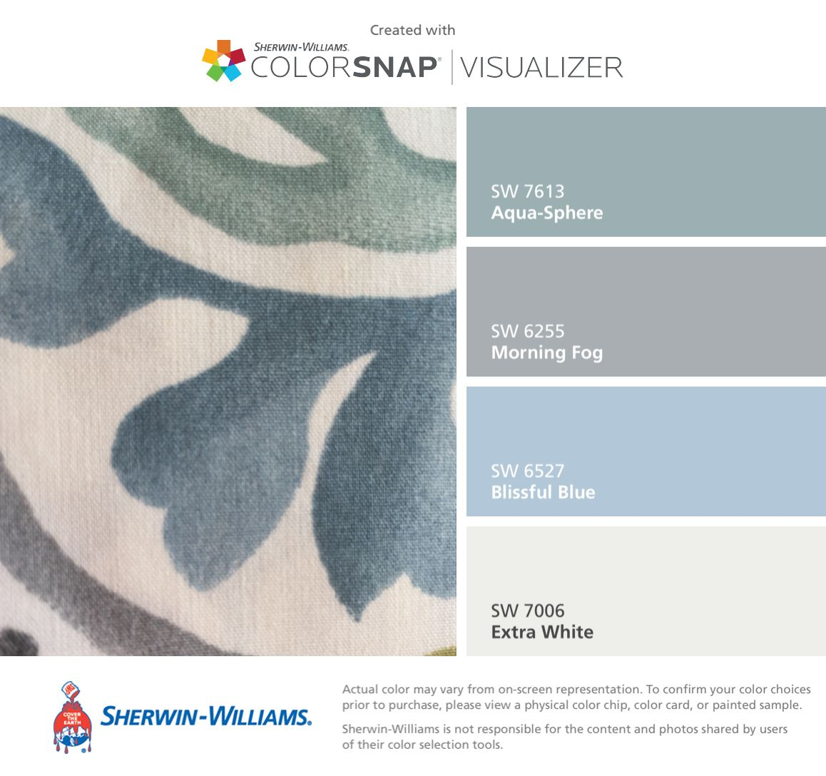 I Found These Colors With Colorsnap Visualizer For Iphone By Sherwin Williams Aqua Sphere Sw 7613 Matching Paint Colors Boy Room Paint Paint Colors For Home
