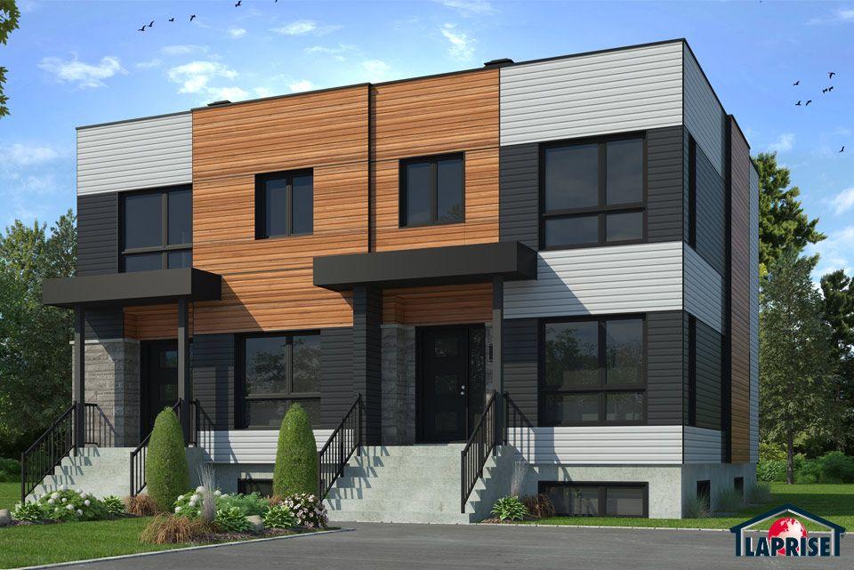 Zen   Contemporain, Jumelés \ Bi-Génération LAP0390 Maison - liste materiaux construction maison