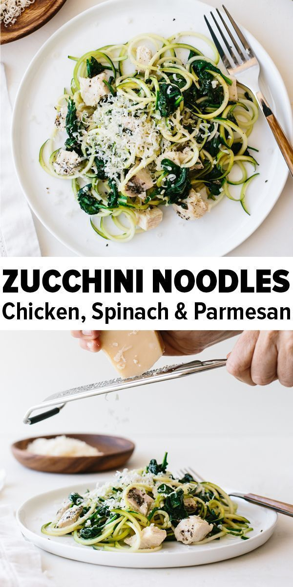 Zucchini noodles with chicken spinach and parmesan are an easy glutenfree paleo lowcarb and keto friendly zucchini noodles recipe Its delicious and can also be made dairy...