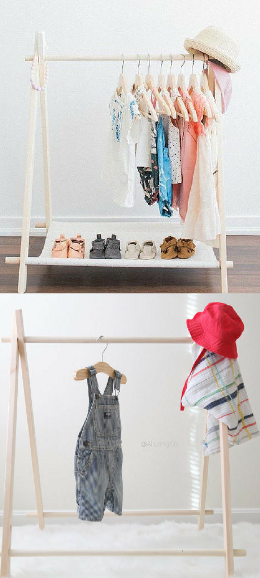 Mini childrenus clothing rack with or without cotton canvas shelf