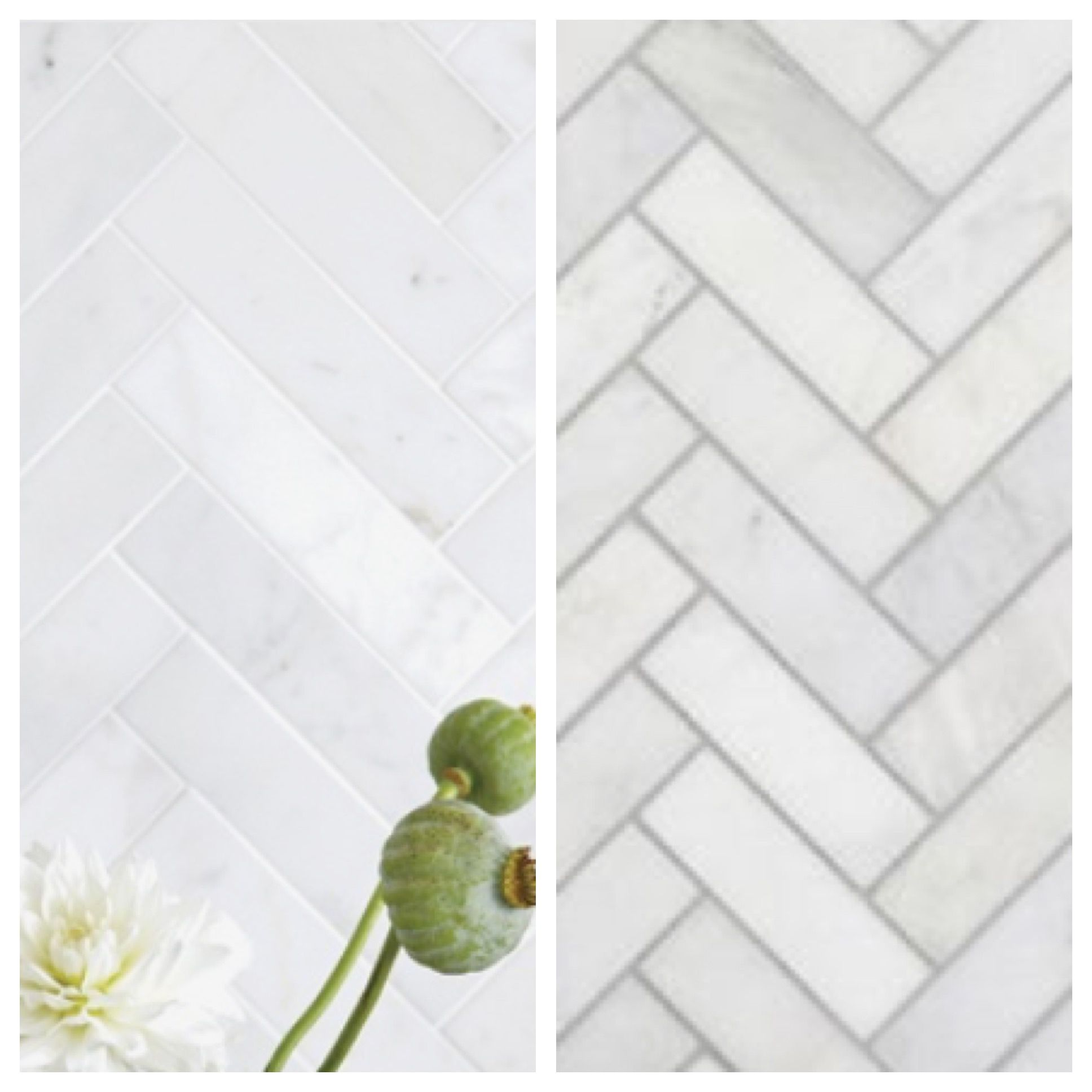 - Same 1x3 Marble Tile, Different Grout Color! WOW! What A
