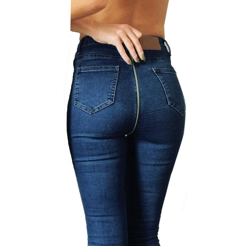 Women Ladies High Waist Skinny Jeans Woman Stretchy Dark Blue Button Fly Denim Skinny Pants Jean Trousers Femme Mujer Jeans Bottoms