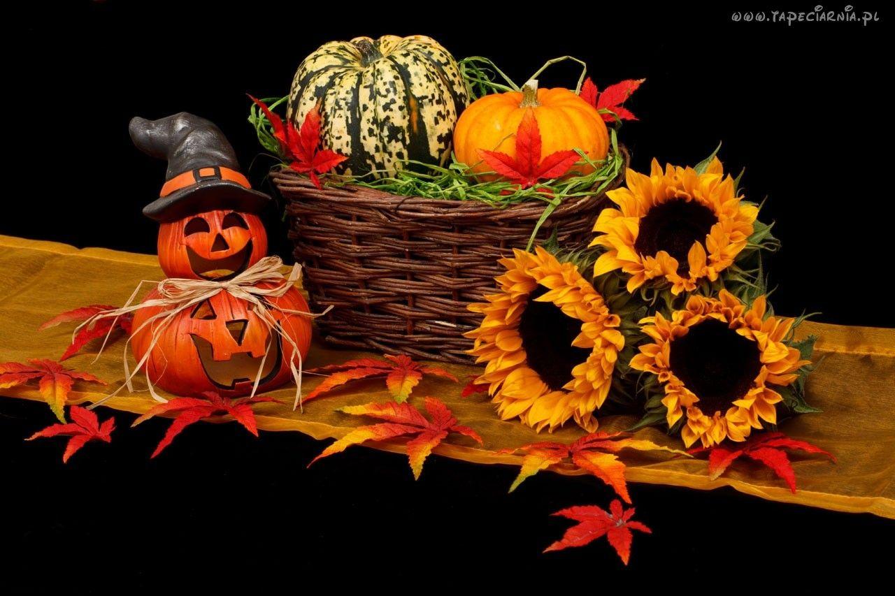 Kosz, Słoneczniki, Dynie, Halloween Jesienne dekoracje