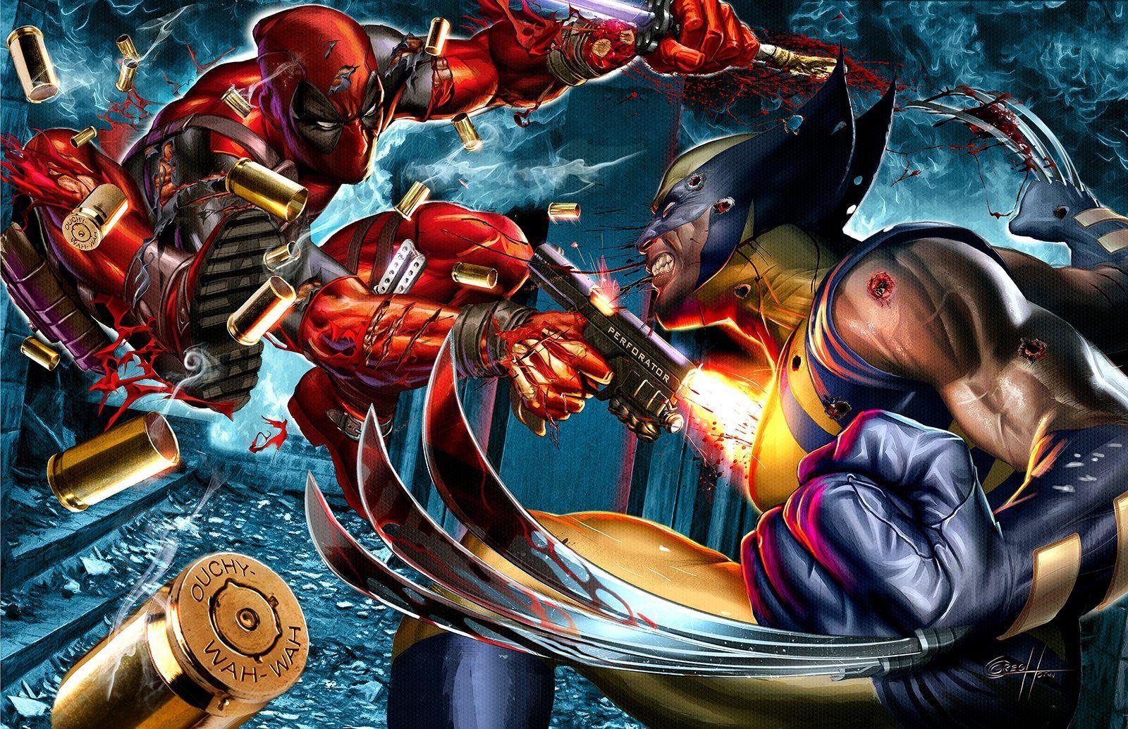 Wolverine Vs Deadpool 24 X 36 Poster Signed Wolverine Movie Marvel Comics Art Deadpool