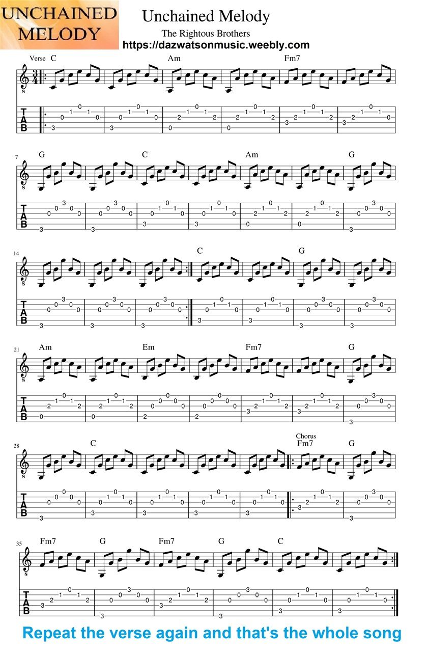 Unchained Melody Easy Fingerstyle Guitar Tab