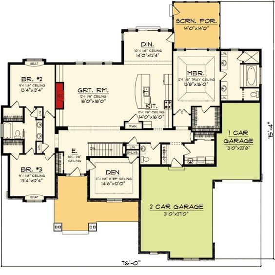 Split Shared Bedroom Ideas: Split Bedroom Ranch Home Plan - 89872AH