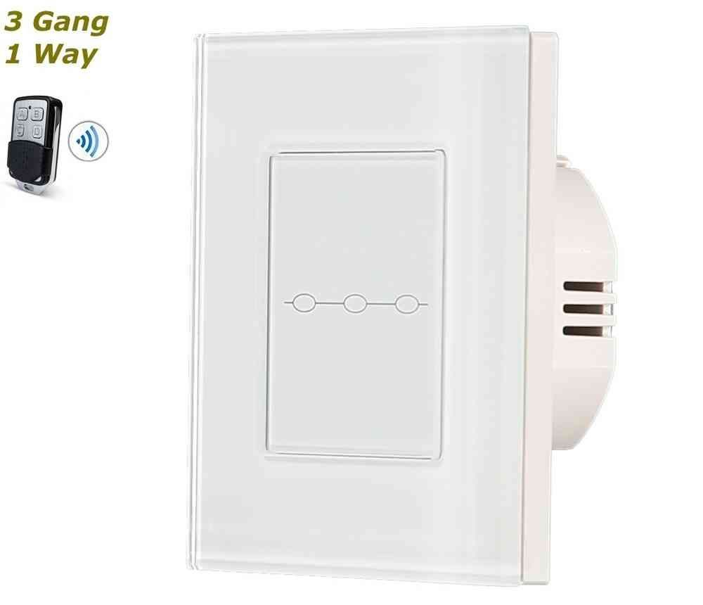 White Glass Frame Remote Control Touch Panel Light Switch On Off 3