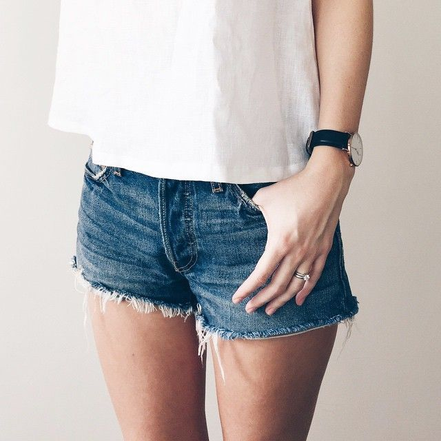 denim short + white t-shirt + wristwatch