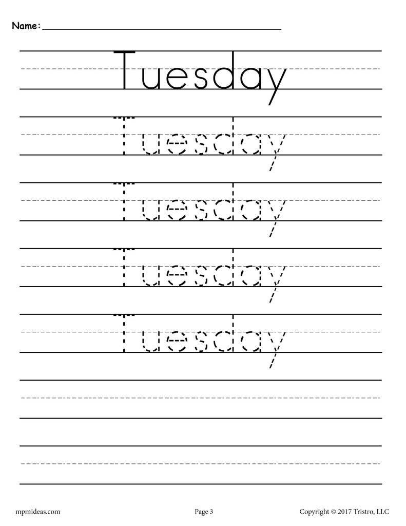 7 Free Days Of The Week Handwriting Worksheets Writting