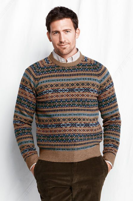 Men's Lambswool Fair Isle Crewneck Sweater from Lands' End ...