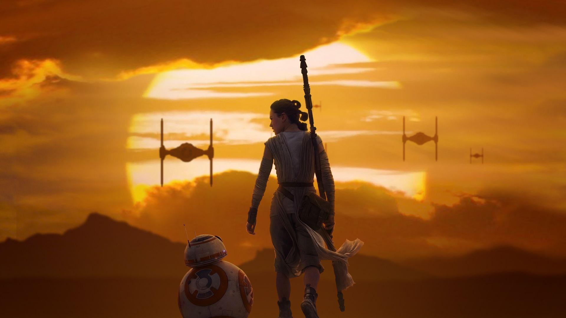 Star Wars The Force Awakens Wallpaper Rey Bb 8 Star Wars The
