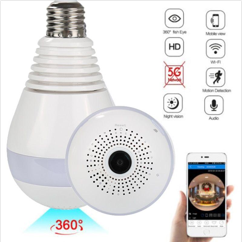 Light Bulb Camera Wireless Camera Wifi 960p Panoramic Fisheye Home