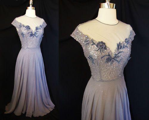 Vtg 40s Silk Blue Iris Cocktail Party Swing Dress Evening Gown Wedding Wwii Era Ebay Curatorial Vintage Vintage Gowns 1940s Evening Dresses Vintage Dresses
