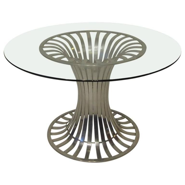 Russell Woodard Aluminium And Glass Dining Table Glass Dining