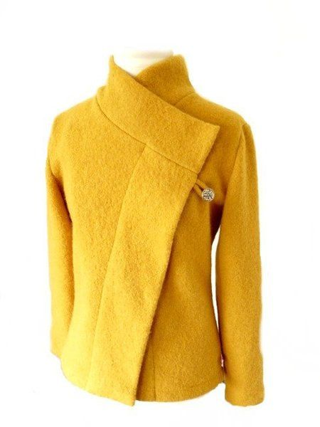 women boiled wool jacket  curry size xs
