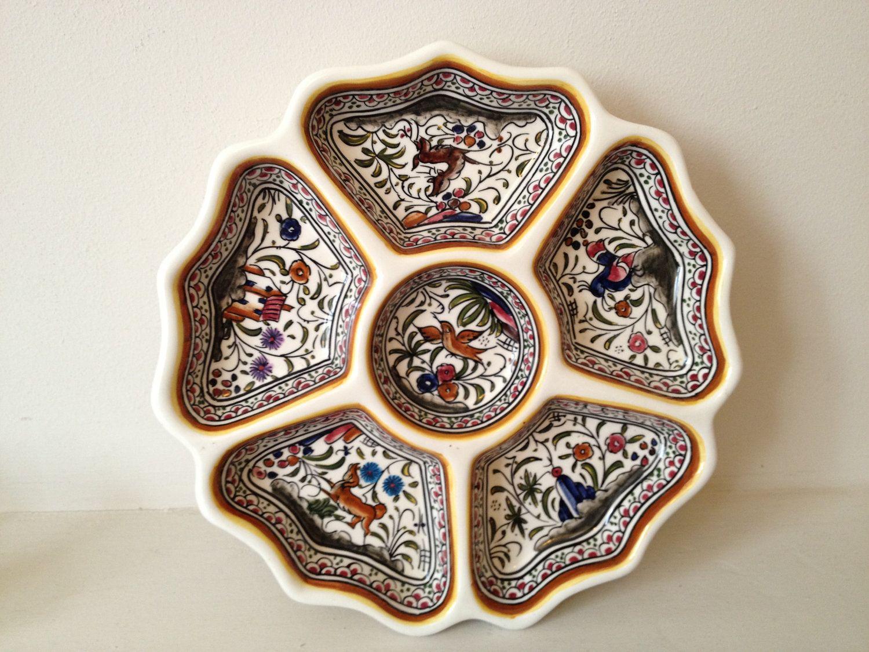 Signed Portuguese Ceramic Hand Painted Dish Portuguese