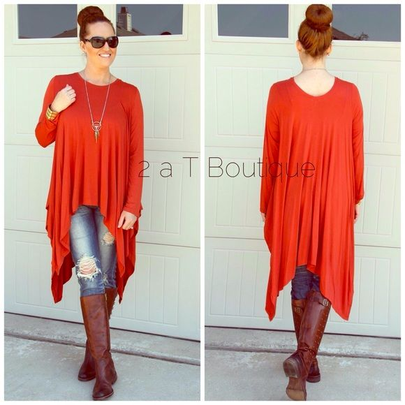 BOGO  Rust Trapeze tunic DO NOT buy this listing, comment below to make sure I have your size available and I will make you a personal listing  Beautiful rust color trapeze tunic. Perfect for Fall. Available in size S(2-4) M(6-8) L(10-12). Color: rust. I am modeling size large in the first photo. TK1375310 2 a T Boutique  Tops Tunics