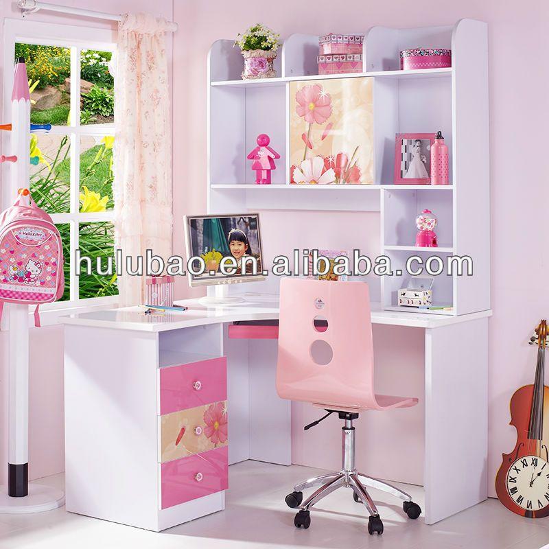 Kids Corner Desk Girl Bedroom Decor, Pink Corner Desk