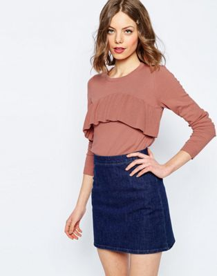 ASOS Sweater With Ruffle Front Detail