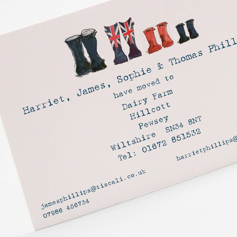 Personalised welly boot family change of address card welly boots personalised welly boot family change of address card colourmoves