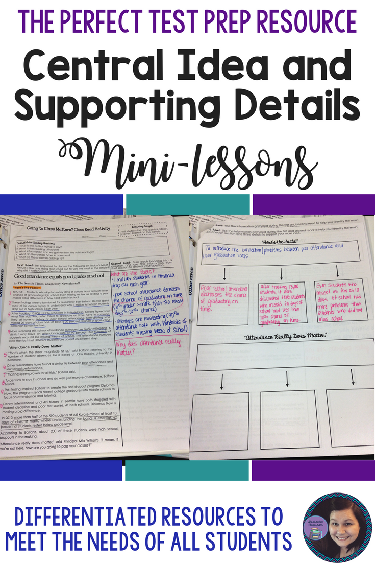 Determining The Central Idea And Supporting Details In A Nonfiction Text Can Be A Difficult Task For Creative Classroom Mini Lessons Nonfiction Text Activities [ 1102 x 735 Pixel ]