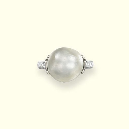 AN ART DECO NATURAL PEARL AND DIAMOND RING  The pearl measuring 12.1 x 12.7 mm within an openwork diamond-set mount to the two-stone baguette-cut diamond shoulders and plain hoop, circa 1920