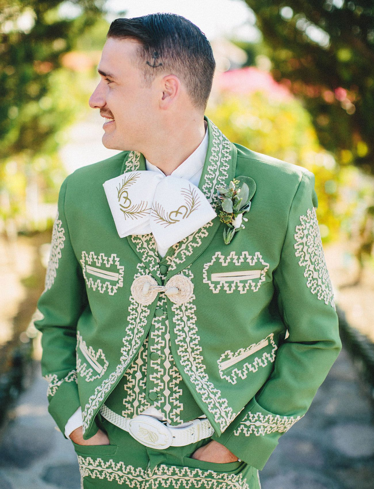 Groom In Green Mexican Charro Suit The Groomsmen Wore Suits At This Wild Baja California Wedding