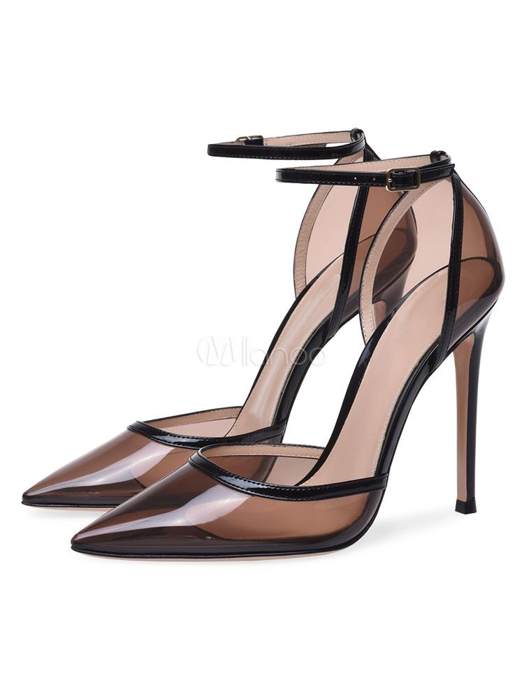 c8f98dddff Women High Heels Transparent Pointed Toe Ankle Strap Pumps Clear Shoes
