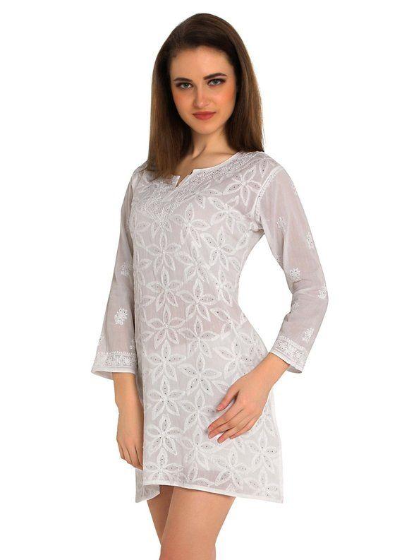 9edcf658e28 Woman White Indian Hand Embroidery allover Chikankari beachwear   Kurtis Top Tunic   kurta   blouse for summer wear women ladies girls