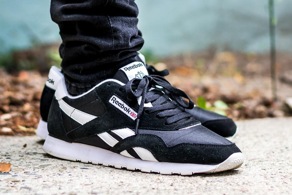 6bb40c07a34 Reebok Classic Nylon Black White On Feet Sneaker Review