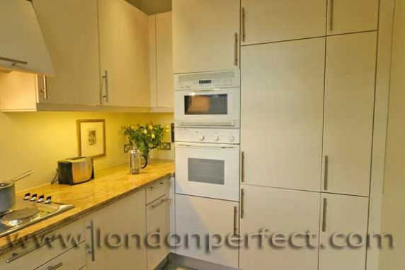 Kitchen+has+a+built-in+microwave,+oven+and+full-size+fridge