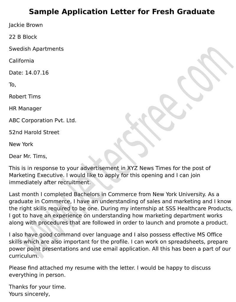 Sample Application Letter for Fresh Graduate Application