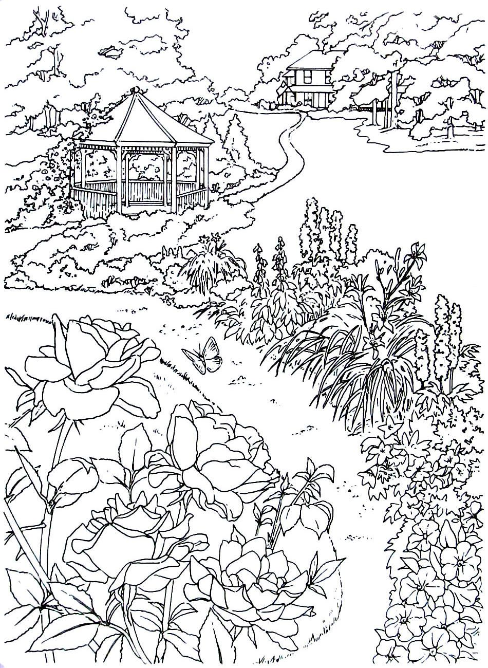 Farm house with gazebo living in the country coloring book page