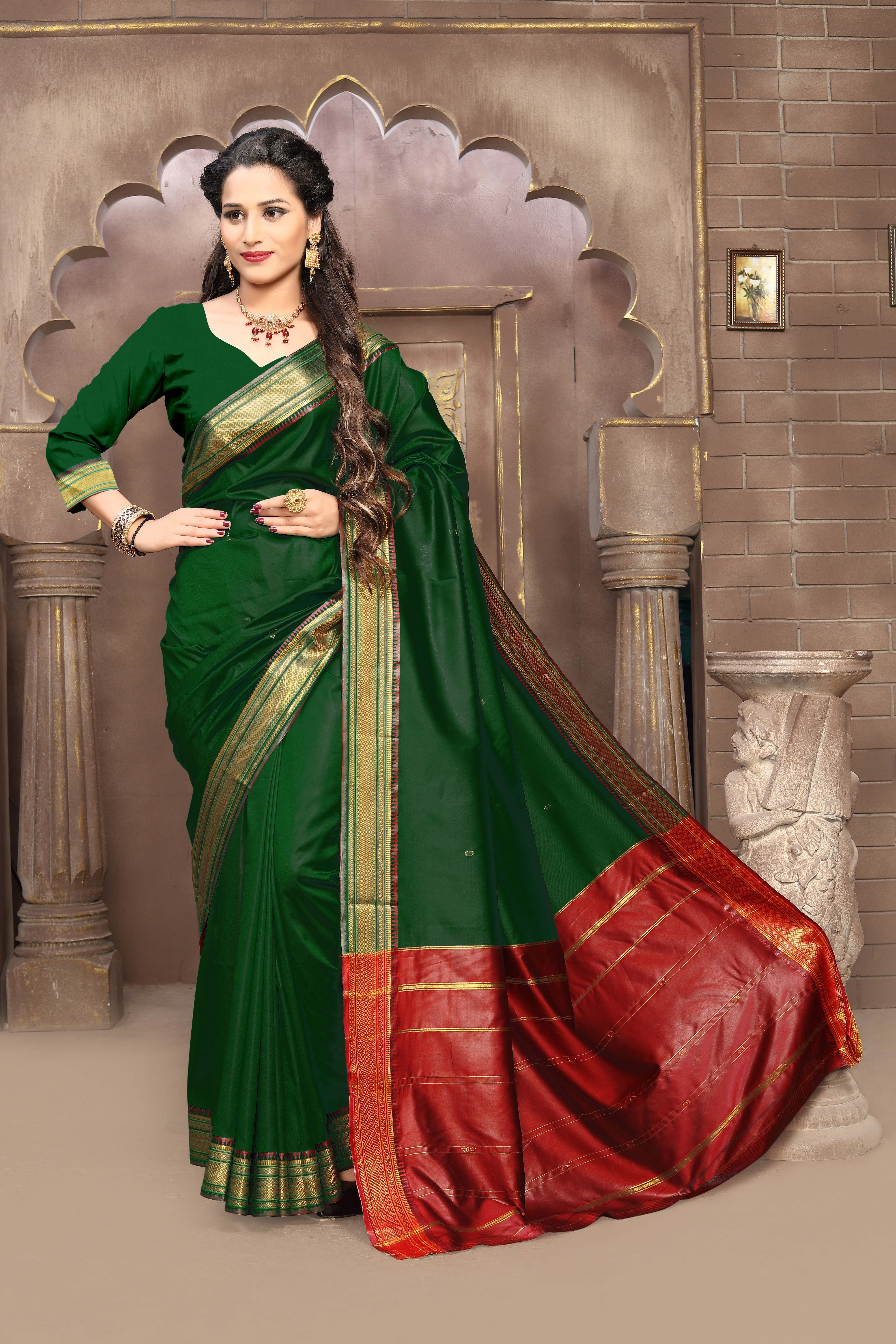 Buy Craftsvilla Green Color Silk Blend Zari Work Traditional Saree