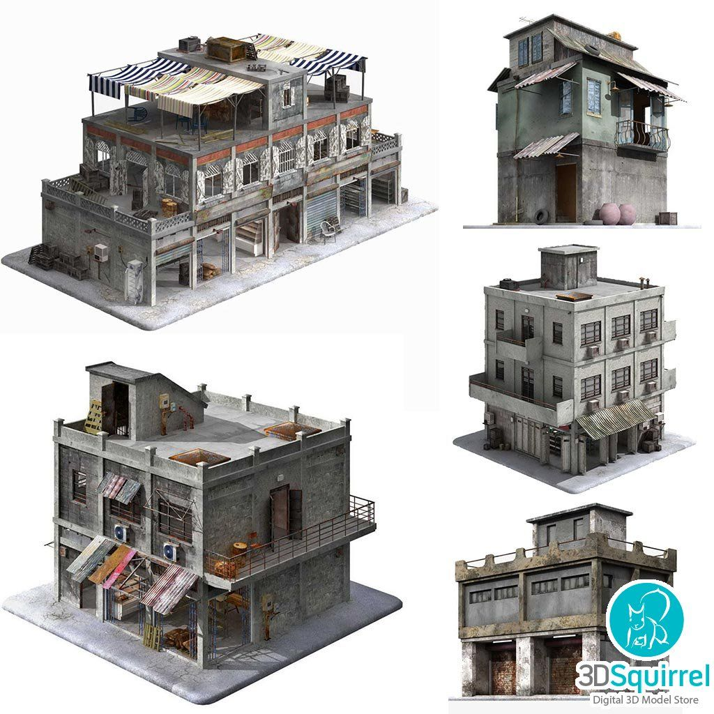 Game Ready Building Collection 3d Model Download 3dsquirrel Building Concept Building Building Design