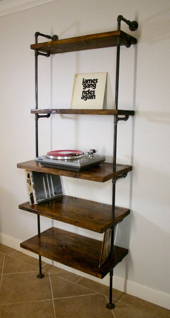 Industrial Vinyl Record Storage Shelf Unit   Modern Bookcase With Turntable  Stand   Shelving   Industrial Furniture   LP Storage   Shelves
