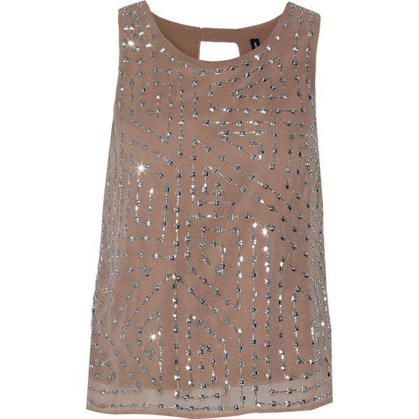 W118 by Walter Baker Olivia embellished chiffon top (£57) ❤ liked on Polyvore featuring tops, nude, w118 by walter baker, sequin embellished top, brown tops, embellished tops and chiffon top