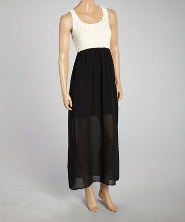 Another great find on #zulily! Black Lace Color Block Maxi Dress - Women #zulilyfinds