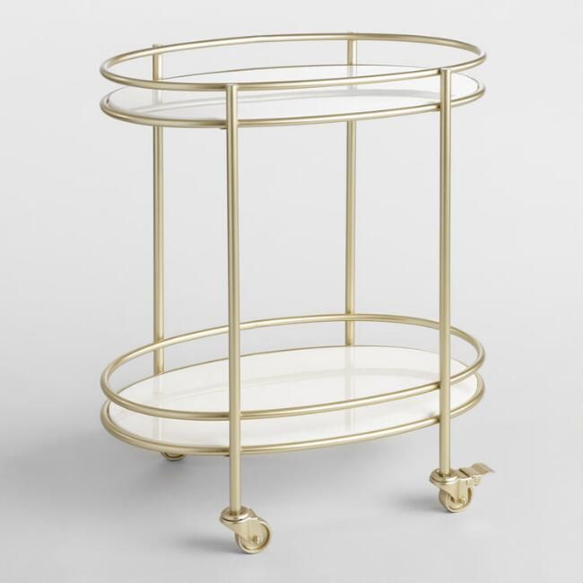 Champagne Gold Metal And White Marble Bar Cart Marble Bar Metal