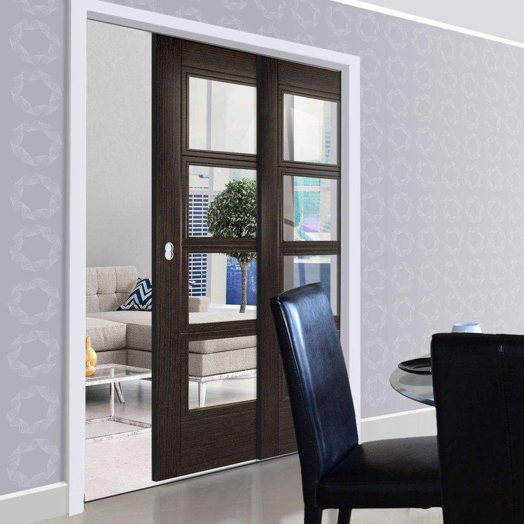 Deanta Twin Telescopic Pocket Montreal Dark Grey Ash Doors - Clear Safety Glass - Prefinished. & Deanta Twin Telescopic Pocket Montreal Dark Grey Ash Doors - Clear ...