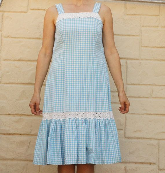 Vintage 70s Turquoise Gingham Dress Boho by SycamoreVintage