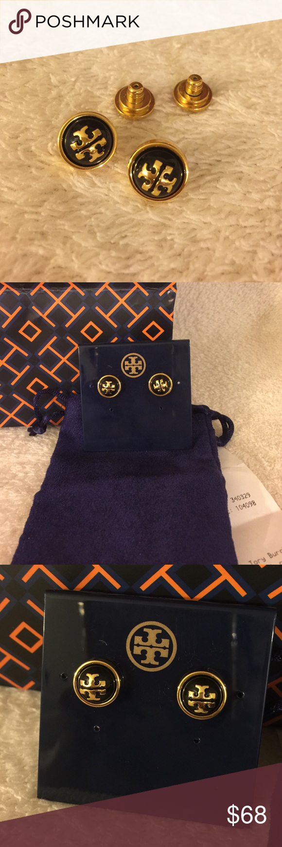 Tory Burch stud earring black Brand new never wear with mini Tory accessories pouch. Price is firm. Can't combine with bundle offer! Tory Burch Jewelry Earrings