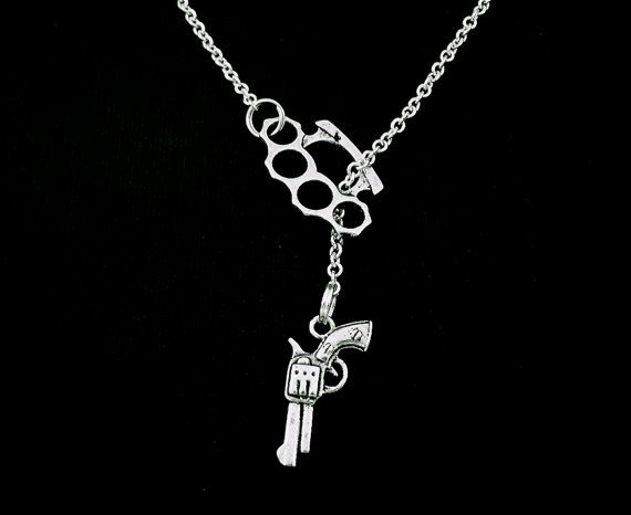Brass knuckle necklace duster gun lariat silver brass knuckles brass knuckle necklace duster gun lariat will be mine mozeypictures Choice Image